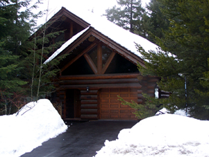 image of log home before